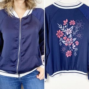 About A Girl blue and pink floral track jacket
